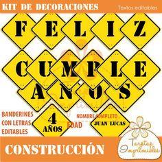 Kit de decoraciones Construcción $ 60.0 - Tarjetas Imprimibles. Banderines Feliz cumple con letras editables, imprimibles.