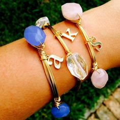 Initial Charm Wire Wrapped Stone Bangle Bracelet | Goodness do I LOVE these!