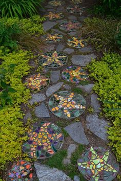 Mosaic pavers created by the gardener