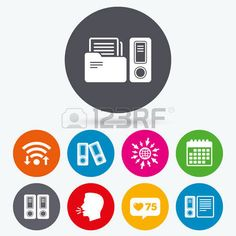 Accountancy Bookkeeping Wifi Like Counter And Calendar Icons Accounting Document Storage