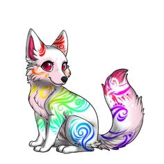 Cute Fantasy Creatures, Mythical Creatures Art, Cute Creatures, Cute Animal Drawings, Kawaii Drawings, Cute Animal Pictures, Wolf Drawings, Pet Anime, Anime Animals