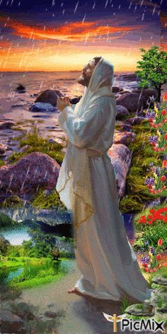Jesus praying in the rain with sunset, flowers and green grass, prophetic art. Jesus And Mary Pictures, Pictures Of Jesus Christ, Religious Pictures, Bible Pictures, Religious Art, Christian Images, Christian Art, Image Jesus, Jesus Painting