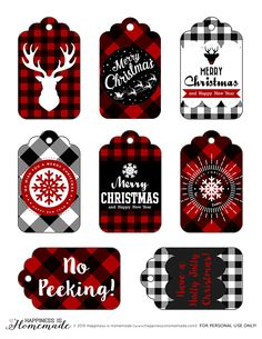 Buffalo Check Plaid Printable Christmas Holiday Gift Tags & a HUGE Giveaway! - Happiness is Homemade