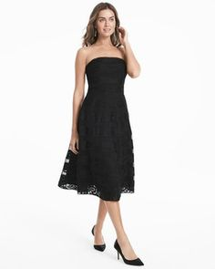 Strapless Black Lace Banded Fit and Flare Dress