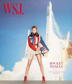 Karlie Kloss Pose in Elon Musk SpaceX headquarters for WSJ Magazine December-January 2015-2016 cover Photoshoot