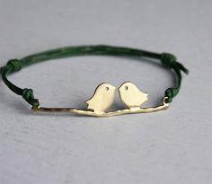 Lovebird bracelet by greenduckweed on Etsy