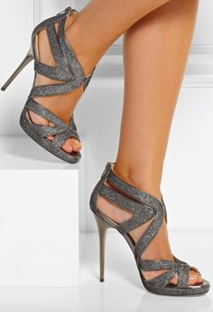 Jimmy Choo ~ High Heel Sandals,Grey, 2015