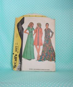 Vintage Caftan Style Dress Pattern. 1972. McCall's 3377. Zipper Front Dress/Robe. Sz:Med 34-36. Raglan Sleeves. Cut Short. Cheapest Shipping by FashionSew on Etsy