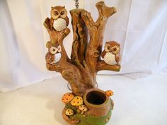 vintage CERAMIC three hand painted three OWL by SMILEatTheDEALS, $150.00
