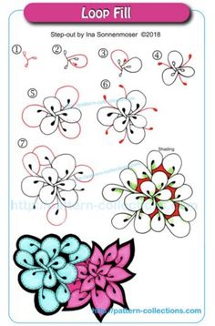 Drawing Tutorial Loop Fill by Ina Sonnenmoser - Easy Zentangle Patterns, Doodle Patterns, Mandala Pattern, Zentangle Drawings, Doodles Zentangles, Doodle Drawings, Tangled Flower, Zantangle Art, Tangle Doodle