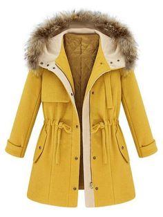 Yellow Elastic Waist Hooded Long Sleeve Coat   Choies