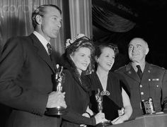 Gary Cooper, Joan Fontaine and Mary Astor with an Oscar statue each.