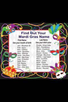 change to Whats your NOLA name? more options: hurricane, beignet, etouffee, crawdad, mardi gras, fleur de lis,
