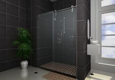contemporary bathroom with black shower tile
