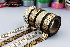4 Rollen Washi Tapes - japanischen Washi Tape - Klebeband - Deko Tape - Washi Papier - Filofax - bronze-Stil