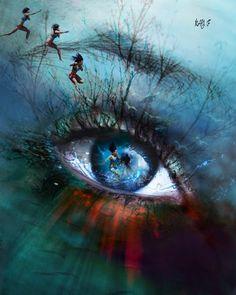 Also Saved by Celtic 🐉 Dragon. Art by Natacha Einat Gorgeous Eyes, Pretty Eyes, Cool Eyes, Surreal Photos, Surreal Art, Trippy Eye, Eyes Artwork, Rainbow Eyes, Dark Drawings