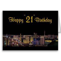 "las vegas logo pink 21st birthday images   Happy ""21"" Birthday Las Vegas Style! Greeting Cards"