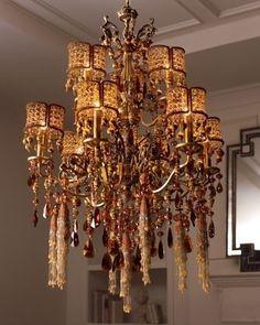 Chandelier Beaded Chandelier, Glass Chandelier, Chandeliers, Lamp Light, Light Up, I Love Lamp, Amber Beads, Glass Slipper, Lampshades