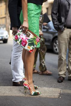 The Hottest Summer Trend: Floral Print! Love the pumps, the envelope bag, the lace mint green skirt...