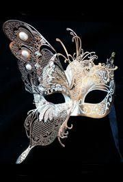 Gold Venetian Hand Painted Papier Mache Masquerade Mask with Gold Metal Laser Cut Decoration and Crystals on the Eyes Has Material Ribbon Tie Strings 10in Wide x 6in Tall