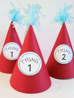 Dr Seuss Birthday Party Hat // Thing 1 and Thing 2. $18.00, via Etsy.