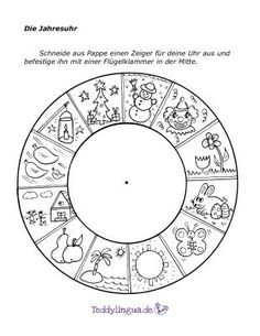 The annual clock- Die Jahresuhr The annual clock - What Is Parenting, Kids And Parenting, Activities For Kids, Crafts For Kids, Kindergarten Portfolio, German Language Learning, Months In A Year, Kids Education, Four Seasons
