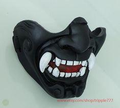 Army of two Airsoft Paintball BB gun mask by on Etsy Oni Mask, Skull Mask, Airsoft Mask, Airsoft Guns, Hannya Samurai, Japanese Demon Mask, Cosplay Steampunk, Armas Ninja, Mask Drawing