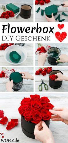 Dieses DIY Geschenk ist wirklich einmalig schön. Eine Flowerbox selber machen geht ganz einfach und schnell. Eine tolle Geschenkidee für Muttertag, Valentintstag, zum Geburtstag oder einfach so für zwischendurch. Du brauchst dafür nur eine Blumenbox, Rosen, einen Steckschwamm, Messer, Schere und Folie. Und schon kann es los gehen. Die genaue Anleitung liefere ich. #flowerbox #selbermachen #diygeschenk #diy #geschenk #muttertag