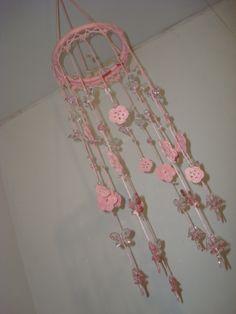 Mobile Rosa - Crochê com Pedrarias