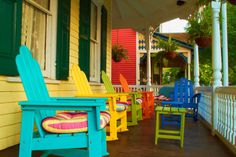 Morning Porch with Colorful Chairs - Photography - Home Decor - Cape May - New Jersey - Americana - Photograph Print - Art - 6X9