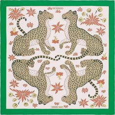 Scarf 90 Hermès   Les Leopards   Christiane Vauzelles ✏️✏️✏️✏️✏️✏️✏️.... DESIGN HISTORY : Talented draughtswoman Christiane Vauzelles began collaborating with Robert Dumas in 1958. Carrés like Tourbillon, Pivoines and Tigre royal testify to her technical mastery and fine sense of composition. Originally destined for a beach towel, these charming cheetahs, drawn in 1967, are presented as a carré for the first time. The delicate, graphic, somewhat naïve drawing, the young cats' cheery…