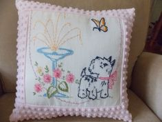 Handmade Pillow Case from Vintage Chenille Bedspread/Doily 14 x 14