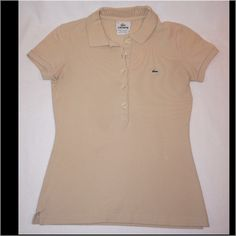 Lacoste Polo 36 XS Lacoste polo, beige/tan/khaki colored, 5 buttons, size 36 extra small. Lacoste Tops Blouses