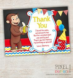 Curious George Thank You Card, Curious George Birthday Party Thank You Note, Monkey, Thank You Card, DIY PRINTABLE