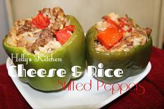 Great for Summer Time...Use up those Peppers and Tomatoes from the Garden!!! Cheese & Rice Stuffed Peppers
