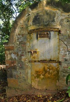 French Guiana - Devil's Island, mortuary .abandoned building room