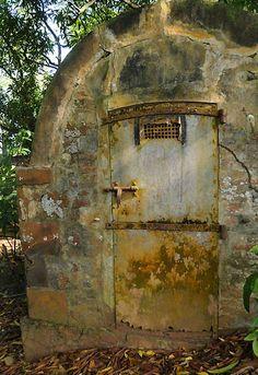 French Guiana - Devil's Island, mortuary .abandoned building room