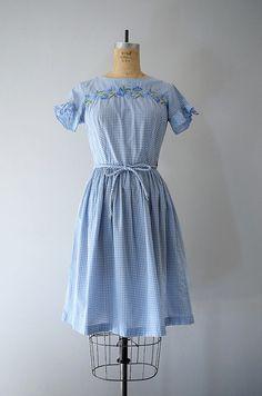 Vintage Swirl wrap dress . 50s 60s blue gingham by BlueFennel