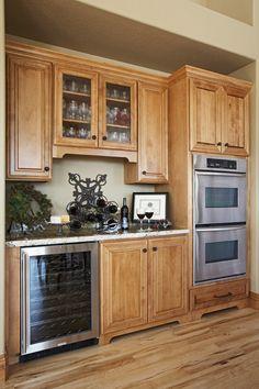 Integrated wine cooler in this #Kitchen from Lifestyle Kitchen & Bath Center Bar @KitchenBathChan
