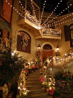 Holiday decorations in a New Orleans Square courtyard at Disneyland