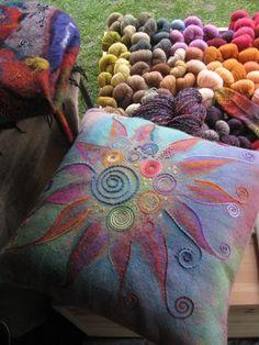 Felt cushion by Jana Muchalski Felt Cushion, Felt Pillow, Nuno Felting, Needle Felting, Fabric Art, Fabric Crafts, Felt Pictures, Wool Art, Bijoux Diy