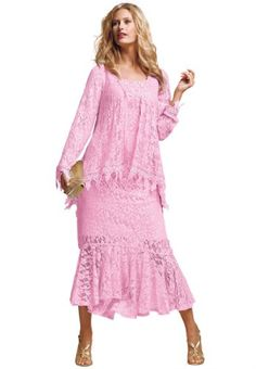 The Best Dressed Plus Size Feminine A-Line Lace Jacket Dress | Traveling Of Life