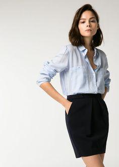 Button down shirt and a pencil skirt.