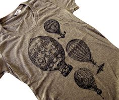 Hot Air Balloon T-Shirt - Vintage Balloons American Apparel ladies Tri-blend shirt - (Available in sizes S, M, L, XL). $18.00, via Etsy.