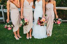 Nude Peach Bridesmaid Dresses Mismatched Long Mid Length Whimsical Barn Wedding Australia http://throughthewoodsweran.co.uk/