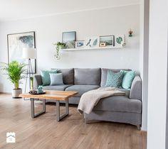 Aranżacja salonu z aneksem kuchennym - Mały salon z jadalnią, styl skandynawski - zdjęcie od Nowe4Ściany