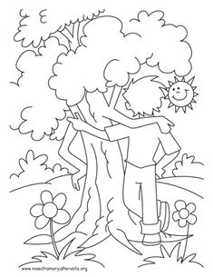 Arbor Day Tree Coloring Page See the category to find more printable coloring sheets. Also, you could use the search box to find what you want. Earth Day Coloring Pages, Tree Coloring Page, Animal Coloring Pages, Colouring Pages, Printable Coloring Pages, Coloring Books, Nature Drawing For Kids, Art Drawings For Kids, Superhero Coloring