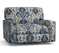 Turner Square Arm Upholstered Swivel Armchair with Bronze Nailheads, Down Blend Wrapped Cushions, Ikat Geo Blue Upholstered Arm Chair, Swivel Armchair, Sectional Sofa, Couch, Pattern Matching, Mortise And Tenon, Ikat, Seat Cushions, Pottery Barn