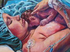 Mãe representa em pinturas a beleza e a força da gravidez e do parto