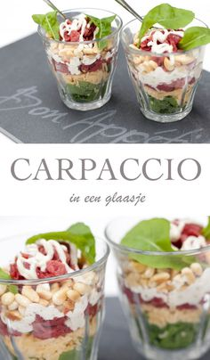 Recept voor Carpaccio in een glaasje. Recept voor Carpaccio in een glaasje. I Love Food, Good Food, Yummy Food, Tasty, Party Food And Drinks, Snacks Für Party, Brunch, Ensalada Thai, Xmas Food